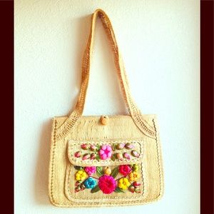 Handbags - Vintage Straw Bag with Florals